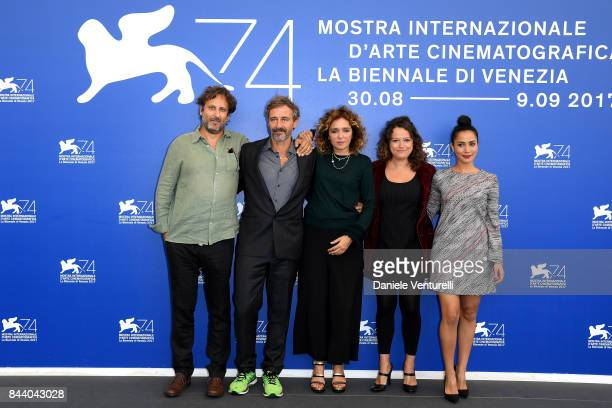 Marco Alessi Corrado Sassi Valeria Golino Ra Di Martino and Nadia Kounda attend the 'Controfigura' photocall during the 74th Venice Film Festival at...