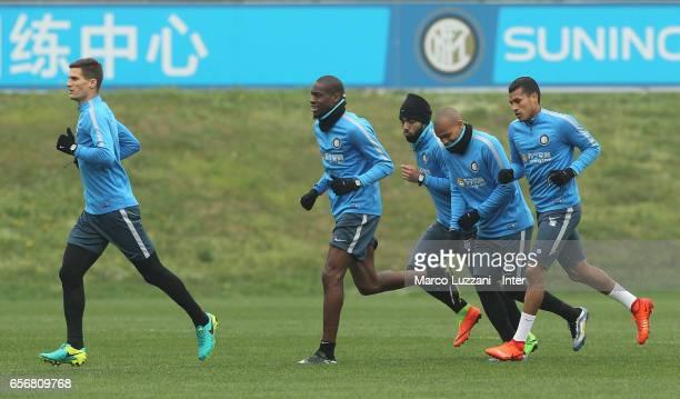 Marco Andreolli Geoffrey Kondogbia Gabriel Barbosa Gabigol Jonathan Biabiany and Jeison Murillo run during the FC Internazionale training session at...