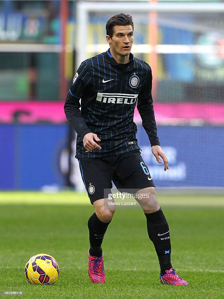 <a gi-track='captionPersonalityLinkClicked' href=/galleries/search?phrase=Marco+Andreolli&family=editorial&specificpeople=1452712 ng-click='$event.stopPropagation()'>Marco Andreolli</a> of FC Internazionale Milano in action during the Serie A match between FC Internazionale Milano and Torino FC at Stadio Giuseppe Meazza on January 25, 2015 in Milan, Italy.
