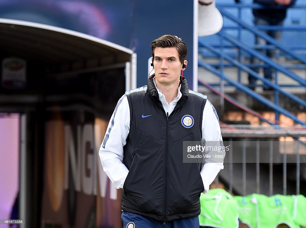 <a gi-track='captionPersonalityLinkClicked' href=/galleries/search?phrase=Marco+Andreolli&family=editorial&specificpeople=1452712 ng-click='$event.stopPropagation()'>Marco Andreolli</a> of FC Internazionale prior to the Serie A match between Empoli FC and FC Internazionale Milano at Stadio Carlo Castellani on January 17, 2015 in Empoli, Italy.