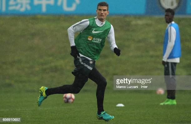 Marco Andreolli of FC Internazionale runs during the FC Internazionale training session at the club's training ground Suning Training Center in...
