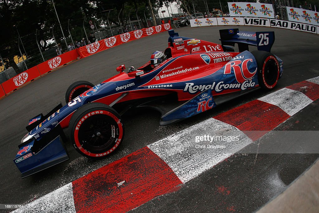<a gi-track='captionPersonalityLinkClicked' href=/galleries/search?phrase=Marco+Andretti&family=editorial&specificpeople=540446 ng-click='$event.stopPropagation()'>Marco Andretti</a> driver of the #25 Andretti Autosport Dallara Chevrolet drives during the IZOD IndyCar series Sao Paulo Indy 300 at Anhembi Sambadrome on May 5, 2013 in Sao Paulo, Brazil.