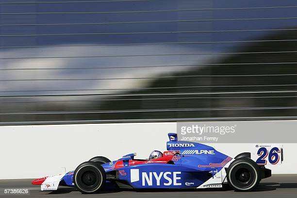 Marco Andretti drives his Andretti Green Racing NYSE Honda Dallara during practice for the IRL IndyCar Series Bridgestone Indy Japan 300 on April 21...