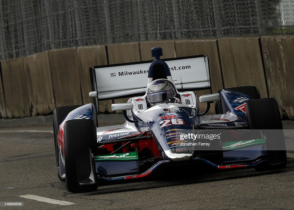 <a gi-track='captionPersonalityLinkClicked' href=/galleries/search?phrase=Marco+Andretti&family=editorial&specificpeople=540446 ng-click='$event.stopPropagation()'>Marco Andretti</a> drives his #26 RC Cola Andretti Autosport Chevy Dallara DW12 during practice for the IZOD INDYCAR Series Chevrolet Detroit Belle Isle Grand Prix on Belle Isle on June 1, 2012 in Detroit, Michigan.