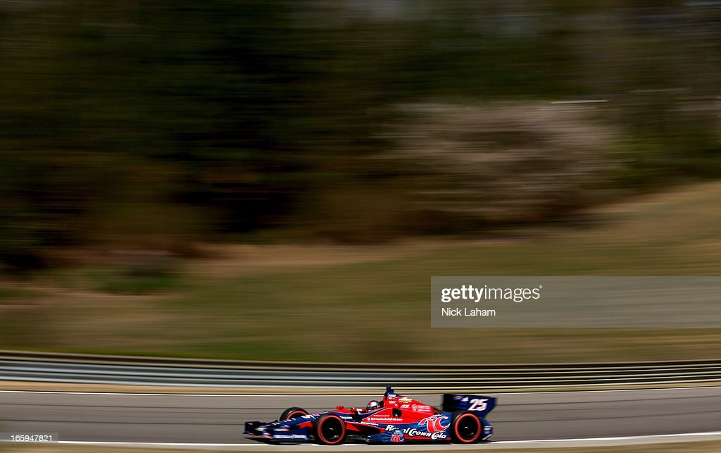 Marco Andretti, drives the #25 Andretti Autosport RC Cola Chevrolet during warm up for the Honda Indy Grand Prix of Alabama at Barber Motorsports Park on April 7, 2013 in Birmingham, Alabama.