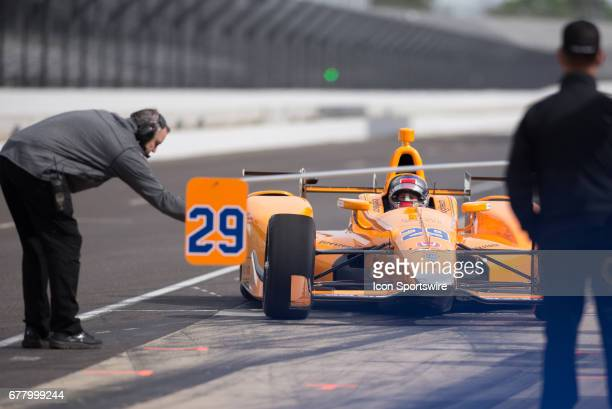 Marco Andretti entering the pits in Fernando Alonso's IndyCar during a test on May 03 at the Indianapolis Motor Speedway in Speedway Indiana