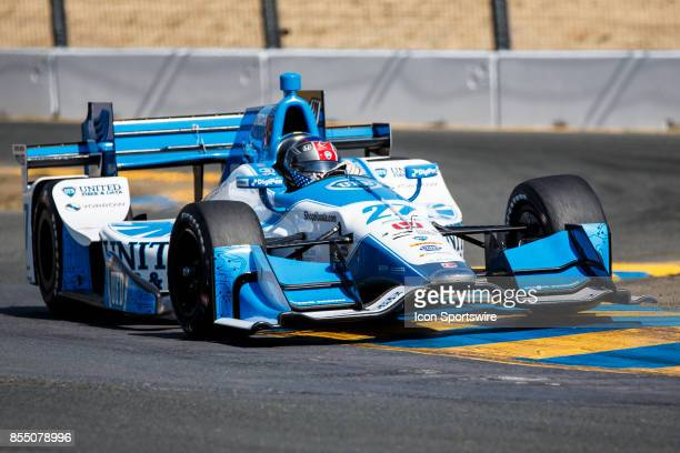 Marco Andretti in the Honda powered United Fiber Data IR12 at the bus stop during warmup for the Verizon Indycar Series GoPro Grand Prix of Sonoma...