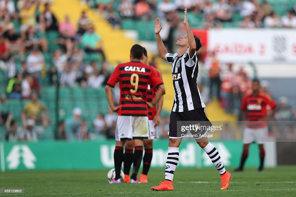 Marco Antonio #8 of Figueirense celebrate his goal, third of Figueirense in match, during a match between Figueirense and Sport as part of Campeonato Brasileiro 2014 at Orlando Scarpelli Stadium on August 3, 2014 in Florianopolis, Brazil