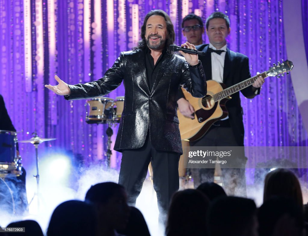 <a gi-track='captionPersonalityLinkClicked' href=/galleries/search?phrase=Marco+Antonio+Solis&family=editorial&specificpeople=239135 ng-click='$event.stopPropagation()'>Marco Antonio Solis</a> is seen performing during the premiere show of Univision's Nuestra Belleza Latina at Univision Headquarters on March 2, 2014 in Miami, Florida.