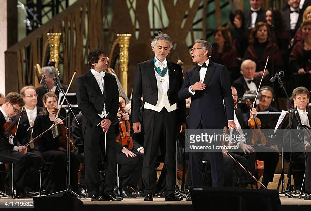 Marco Armiliato Andrea Bocelli and Paolo Bonolis attend the Opening Event Expo 2015 at Piazza Duomo on April 30 2015 in Milan Italy