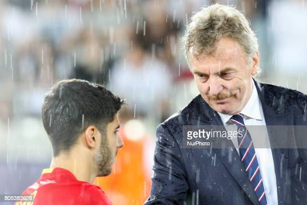 Marco Asensio and Zbigniew Boniek during the UEFA U21 Final match between Germany and Spain at Krakow Stadium on June 30 2017 in Krakow Poland