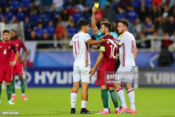 Marco Asensio Bruno Fernandes during the UEFA European Under21 match between Portugal and Spain on June 20 2017 in Gdynia Poland