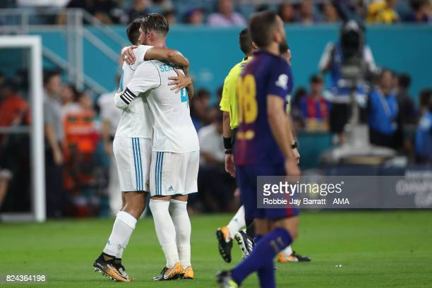 Marco Asensio celebrates after scoring a goal to make it 22 during the International Champions Cup 2017 match between Real Madrid and FC Barcelona at...