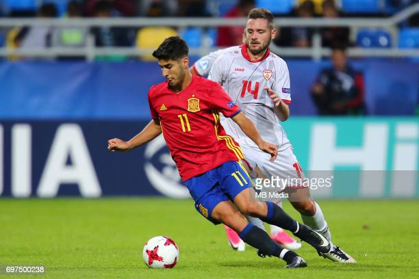 Marco Asensio Darko Velkoski during the UEFA European Under21 match between Spain and FYR Macedonia on June 17 2017 in Gdynia Poland