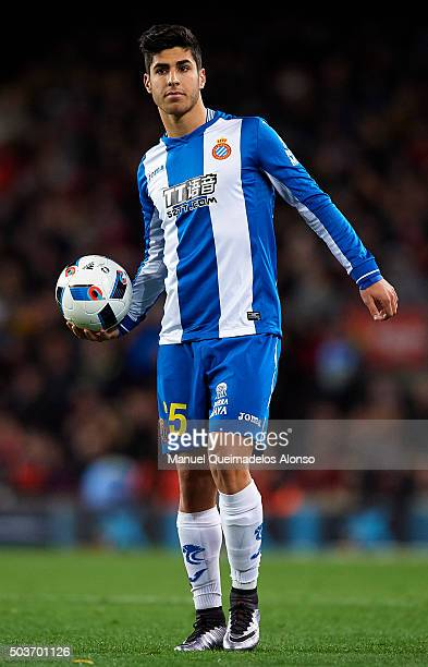 Marco Asensio of Espanyol looks on during the Copa del Rey Round of 16 match between FC Barcelona and Real CD Espanyol at Camp Nou on January 6 2016...