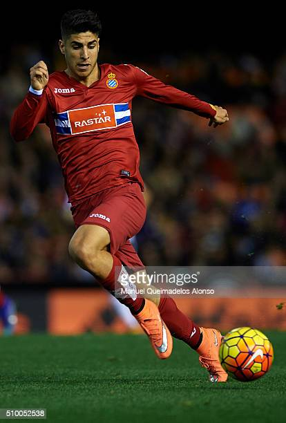 Marco Asensio of Espanyol runs with the ball during the La Liga match between Valencia CF and RCD Espanyol at Estadi de Mestalla on February 13 2016...