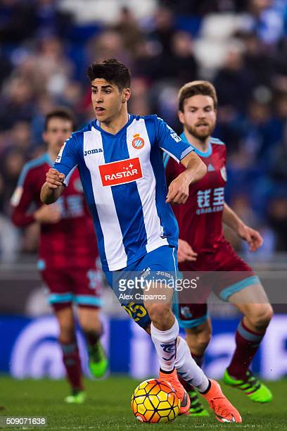 Marco Asensio of RCD Espanyol conducts the ball during the La Liga match between RCD Espanyol and Real Sociedad de Futbol at CornellaEl Prat Stadium...