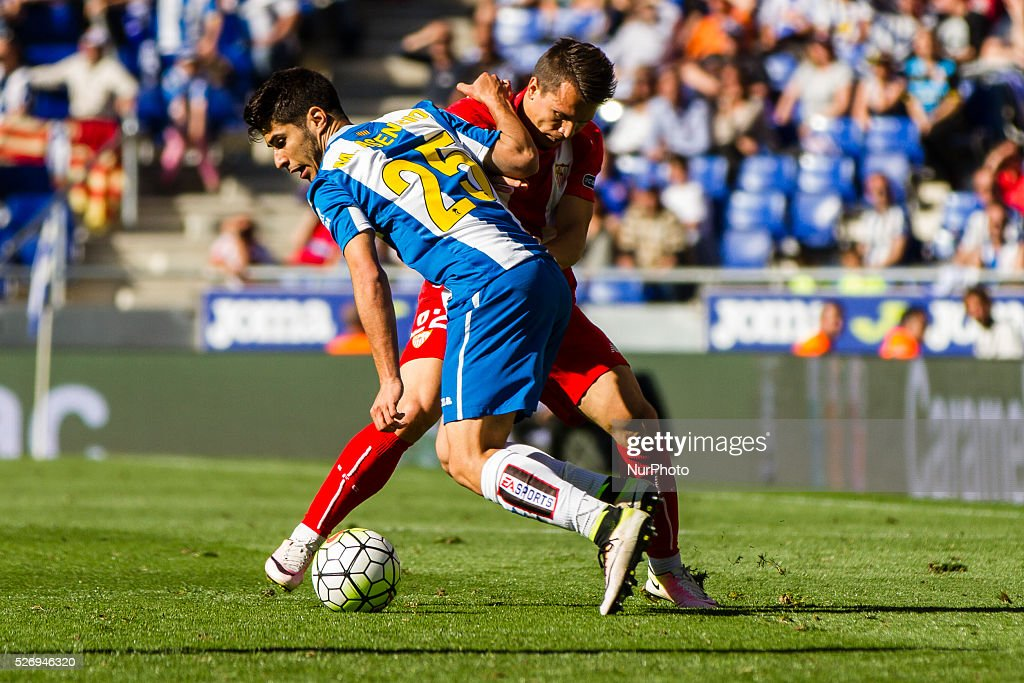 Marco Asensio of RCD Espanyol during the match between RCD Espanyol and Sevilla CF, for the round 36 of the Liga BBVA, played at RCD Espanyol Stadium on 1th May 2016 in Barcelona, Spain.