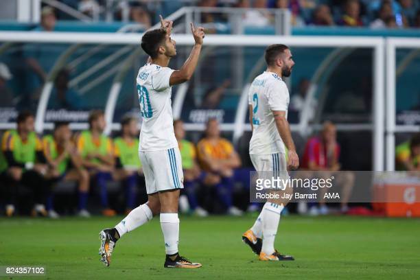 Marco Asensio of Real Madrid celebrates after scoring a goal to make it 22 during the International Champions Cup 2017 match between Real Madrid and...