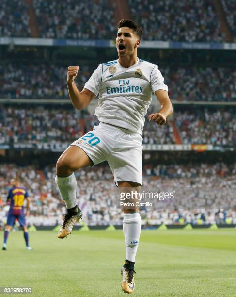 Marco Asensio of Real Madrid celebrates after scoring during the Supercopa de Espana Final second leg match between Real Madrid and FC Barcelona at...