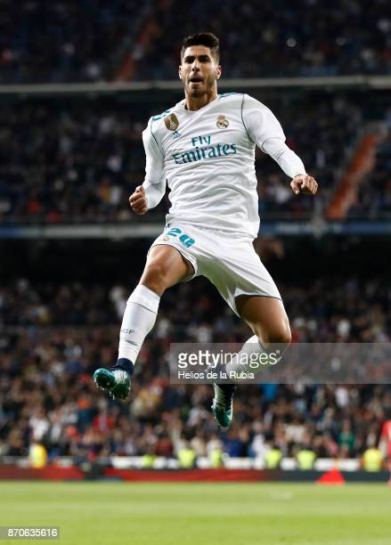 Marco Asensio of Real Madrid celebrates after scoring during the La Liga match between Real Madrid and Las Palmas at Estadio Santiago Bernabeu on...