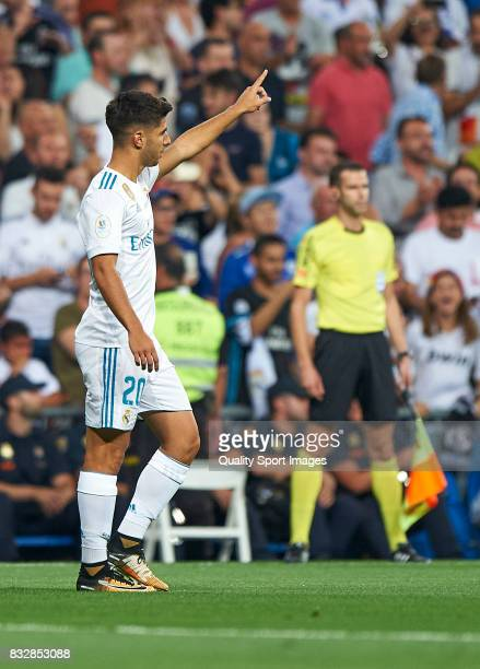 Marco Asensio of Real Madrid celebrates after scoring the first goal during the Supercopa de Espana Supercopa Final 2nd Leg match between Real Madrid...