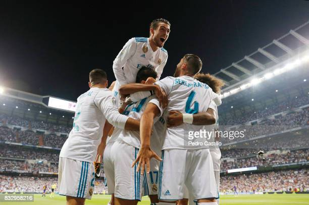 Marco Asensio of Real Madrid celebrates after scoring with his teammates during the Supercopa de Espana Final second leg match between Real Madrid...
