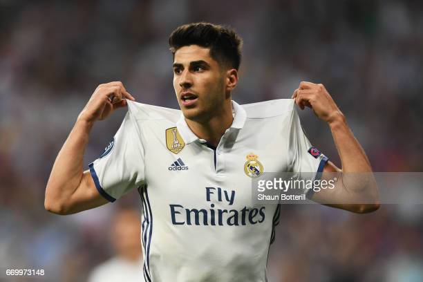 Marco Asensio of Real Madrid celebrates scoring his sides fourth goal during the UEFA Champions League Quarter Final second leg match between Real...
