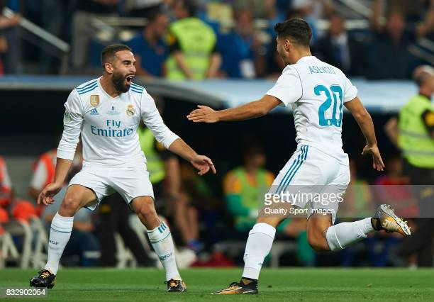 Marco Asensio of Real Madrid celebrates with Daniel Carvajal of Real Madrid after scoring the first goal during the Supercopa de Espana Supercopa...