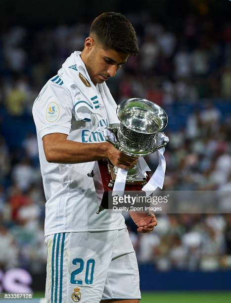 Marco Asensio of Real Madrid celebrates with the trophy after winning the Supercopa de Espana Supercopa Final 2nd Leg match between Real Madrid and...