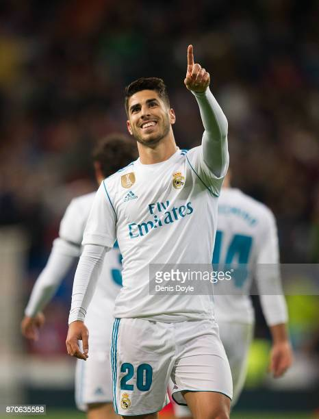 Marco Asensio of Real Madrid CF celebrates after scoring his teamÕs 2nd goal during the La Liga match between Real Madrid and Las Palmas at Estadio...