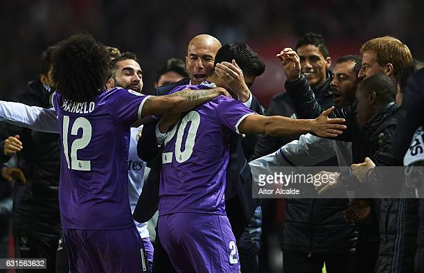 Marco Asensio of Real Madrid CF celebrates after scoring the first goal of Real Madrid CF with his coach Zinedine Zidane during the Copa del Rey...