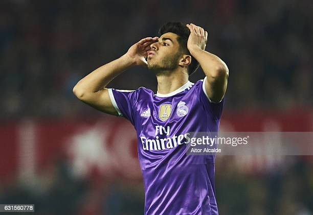Marco Asensio of Real Madrid CF reacts during the Copa del Rey Round of 16 Second Leg match between Sevilla FC vs Real Madrid CF at Ramon Sanchez...