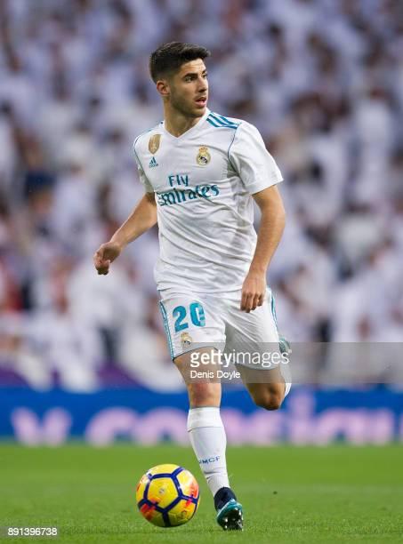 Marco Asensio of Real Madrid controls the ball during the La Liga match between Real Madrid and Sevilla at Estadio Santiago Bernabeu on December 9...