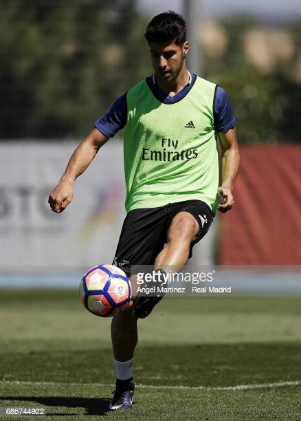 Marco Asensio of Real Madrid in action during a training session at Valdebebas training ground on May 20 2017 in Madrid Spain