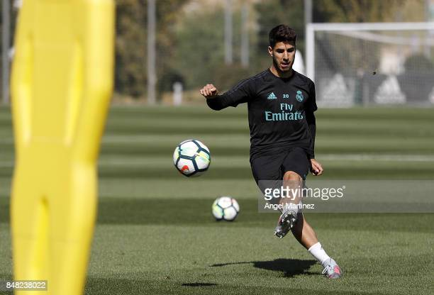 Marco Asensio of Real Madrid in action during a training session at Valdebebas training ground on September 16 2017 in Madrid Spain