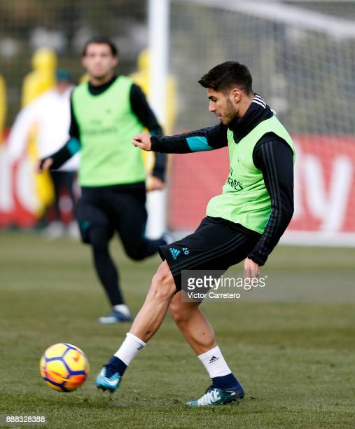 Marco Asensio of Real Madrid in action during a training session at Valdebebas training ground on December 8 2017 in Madrid Spain
