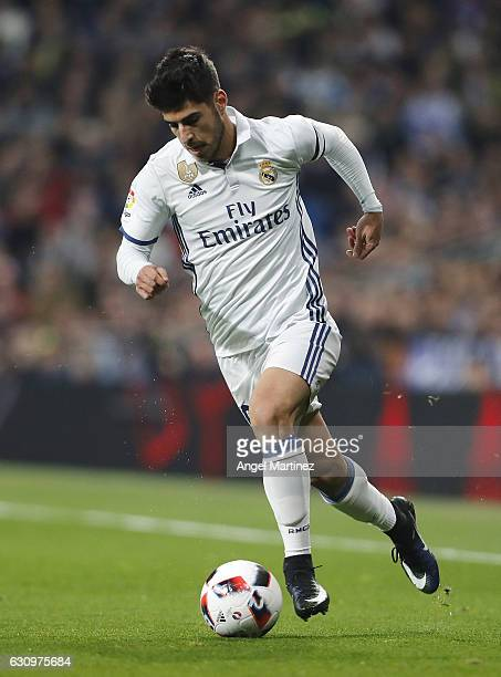 Marco Asensio of Real Madrid in action during the Copa del Rey round of 16 first leg match between Real Madrid CF and Sevilla at Estadio Santiago...