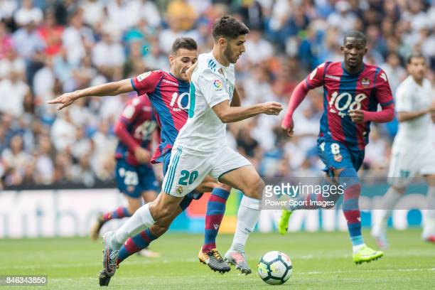 Marco Asensio of Real Madrid in action during the La Liga match between Real Madrid and Levante UD at the Estadio Santiago Bernabeu on 09 September...