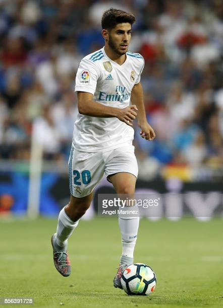 Marco Asensio of Real Madrid in action during the La Liga match between Real Madrid and Espanyol at Estadio Santiago Bernabeu on October 1 2017 in...