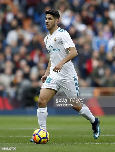 Marco Asensio of Real Madrid in action during the La Liga match between Real Madrid and Sevilla at Estadio Santiago Bernabeu on December 9 2017 in...