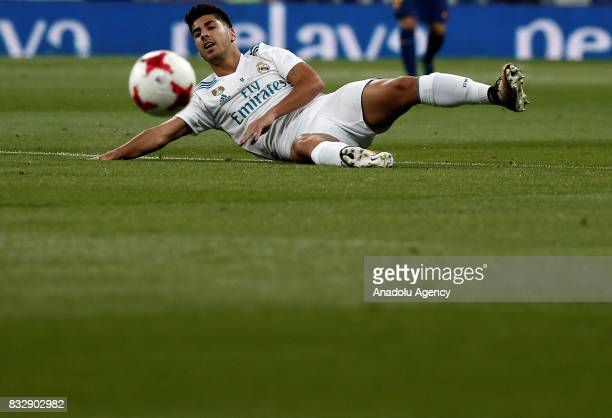 Marco Asensio of Real Madrid in action during the Spanish Super Cup return match between Real Madrid and Barcelona at Santiago Bernabeu Stadium in...