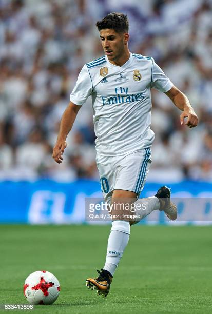 Marco Asensio of Real Madrid in action during the Supercopa de Espana Supercopa Final 2nd Leg match between Real Madrid and FC Barcelona at Estadio...