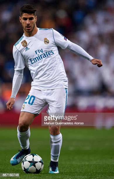 Marco Asensio of Real Madrid in action during the UEFA Champions League group H match between Real Madrid and Borussia Dortmund at Estadio Santiago...