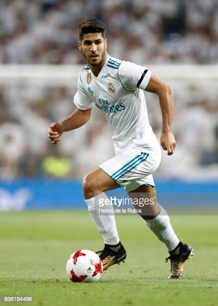 Marco Asensio of Real Madrid in actions during the match Trofeo Santiago Bernabeu between Real Madrid CF and Fiorentina at Santiago Bernabeu Stadium...