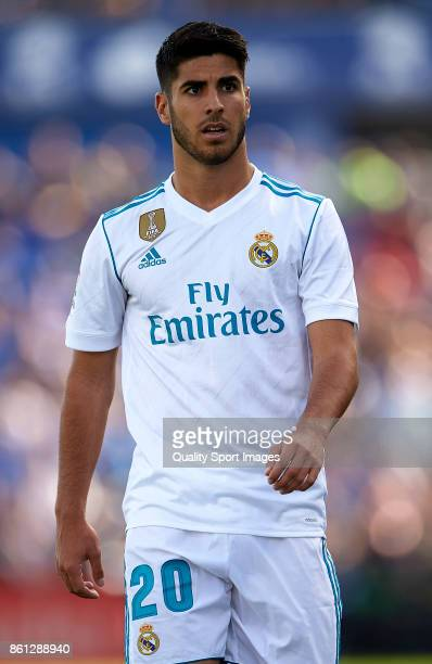 Marco Asensio of Real Madrid looks on during the La Liga match between Getafe and Real Madrid at Estadio Coliseum Alfonso Perez on October 14 2017 in...