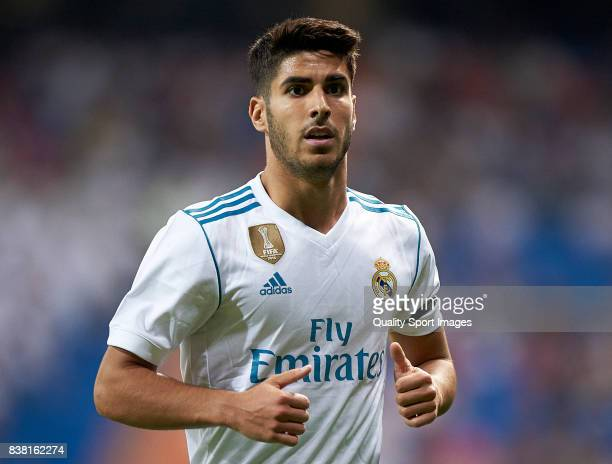 Marco Asensio of Real Madrid looks on during the Trofeo Santiago Bernabeu match between Real Madrid and ACF Fiorentina at Estadio Santiago Bernabeu...
