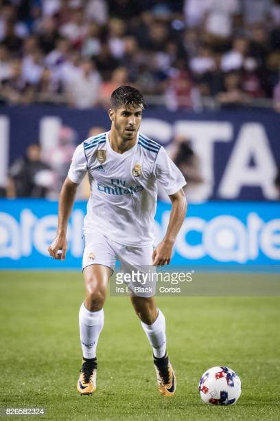 Marco Asensio of Real Madrid looks to take the shot on goal during the MLS AllStar match between the MLS AllStars and Real Madrid at the Soldier...