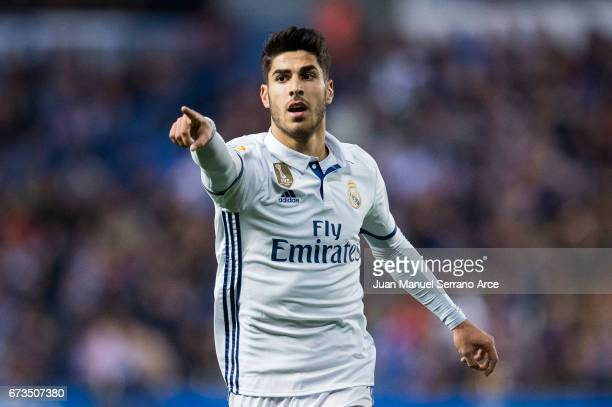 Marco Asensio of Real Madrid reacts during the La Liga match between RC Deportivo La Coruna and Real Madrid at Riazor Stadium on April 26 2017 in La...