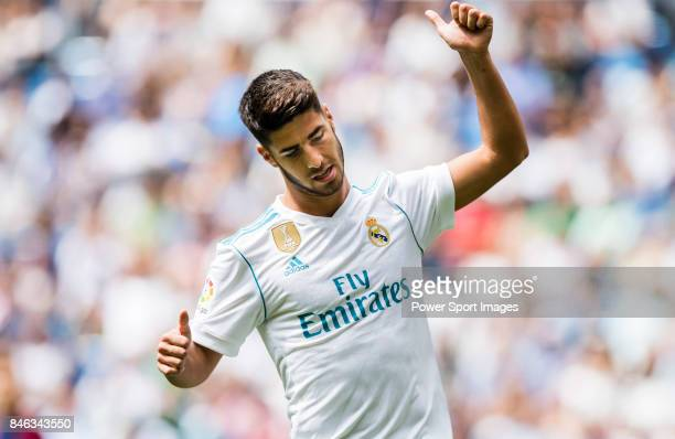Marco Asensio of Real Madrid reacts during the La Liga match between Real Madrid and Levante UD at the Estadio Santiago Bernabeu on 09 September 2017...